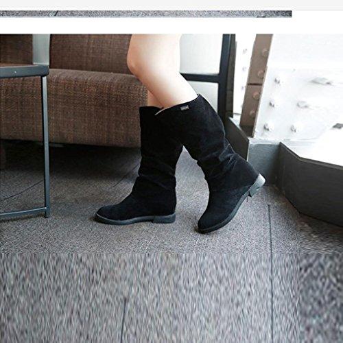 Botas Mujer,Ouneed ® Moda Mujer Chica Invierno dulce botas largas Elegante plano Flock nieve botas Negro