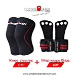 Product review for Unbrokenshop.com Cross Fitness knee sleeves + Gloves Wrist Wraps Grips COMBO kneecap support men women compare Rehband Rocktape size S,M,L, XL 7mm protect joelheira Weightlifting