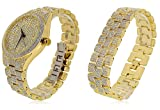 5 Year Warranty XL Gold Plated Iced Out Solid Hip Hop Bling Watch + Matching Bracelet Set