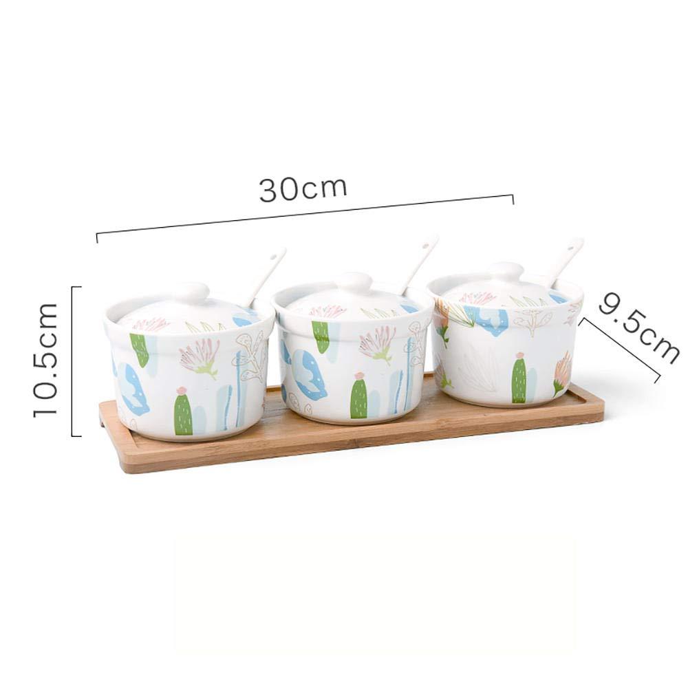 Creativo juego de tarros de condimentos de cer/ámica con 3 cajas de condimentos japoneses Contenedor de especias casero Conjunto de tarros de condimentos simples