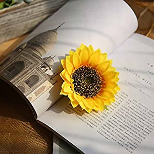 Smorran Artificial Sunflower Heads Silk Flower Faux Floral Yellow Gerber Daisies for Wedding Table Centerpieces Home Kitchen Wreath Hydrangea Cupcakes Topper Decorations 27