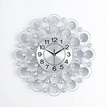 Wall Clock Round Silent Non Ticking Metal Watch Modern Decoration Home Simple Living Room Bedroom Office Quartz Clock(Size:20Inch)