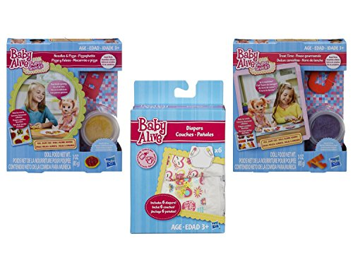 Baby Alive Accessories Bundle of 3 Items - 1 Super Snacks Noodles & Pizza Snack Pack (Blonde), 1 Super Snacks Treat Time Snack Pack (Blonde) and 1 Diapers Pack. by Baby Alive