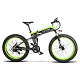 Vtsp T750 Plus 500W 48V 10Ah Electric Bicycle 26 Inch Fat Tire Full suspension Foldable Electric Ebike Snow Mountain Bikes Shimano 27 Shifting System Ebike(Black Green) Christmas Gift