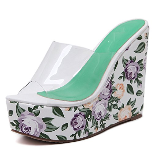 HGTYU Women'S Shoes Are Summer Transparent Bohemia Flowers Heel Shoes Slippers Thirty-eight NvQ27Apacl