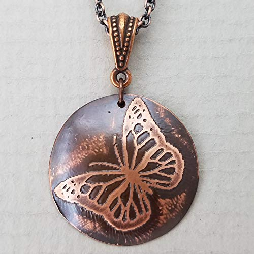 Etched Copper Magical Monarch Necklace