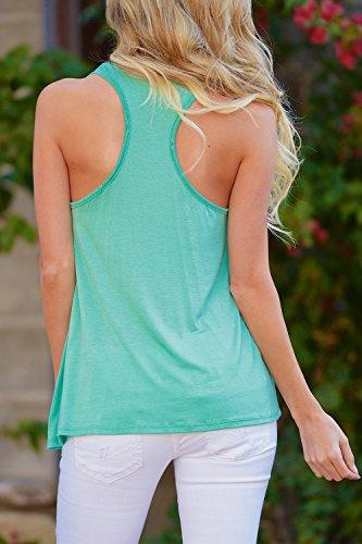 Tapas de impresión blusa de Yacun las mujeres sin mangas Casual letra Green