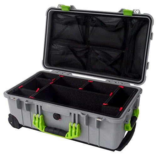 Pelican ''Colors'' series - Silver & Lime green 1510 with TrekPak dividers & 1519 Lid org. by CVPKG and Pelican