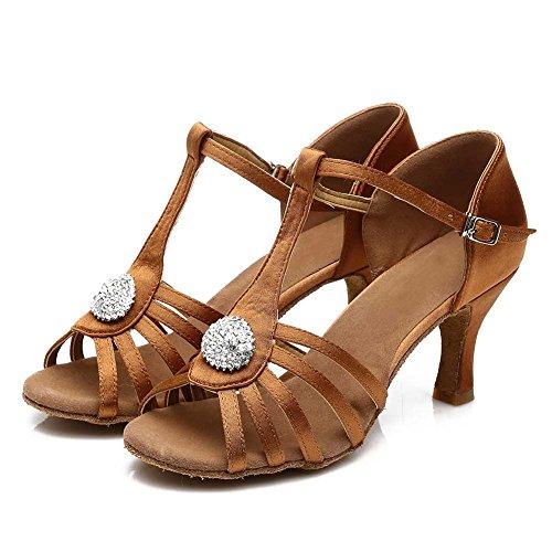 Roymall Womens Satin Latin Dance Shoes Ballroom Tango Performance Shoes Model 226/230 Brown yvV8gu
