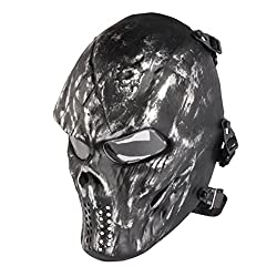 Paintball Mask, Skull Skeleton Full Face Airsoft Mask with Clear Lens Army Fans Supplies M06 Tactical Mask for Halloween Paintball BB Gun CS Game Cosplay and Masquerade Party