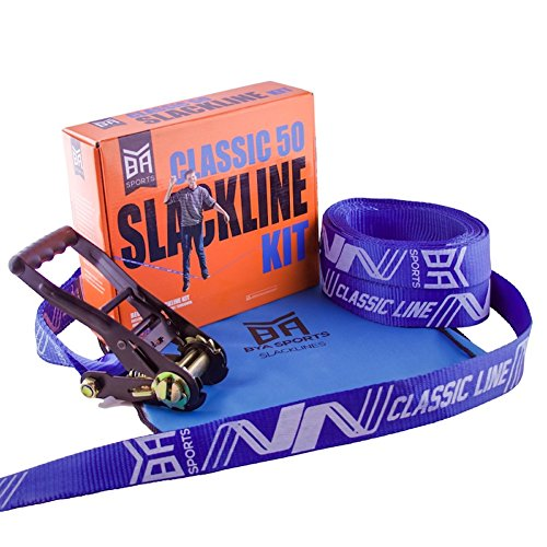 BYA Classic Beginner Slackline Kit 50ft or 85ft with Carrying Bag and Instructions for Slackers Intro Line For Adults Children and Kids