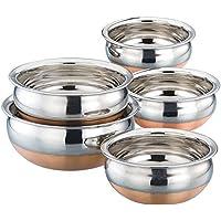LiMETRO STEEL Multi-Purpose Copper Bottom Handi Pot Cookware Chetty Combo Serving Handi Cookware, 500 , 750 ml , Handi 1 050 , 1200 , 1500 ml Handi 5 L, Steel -Set of 5 Piece