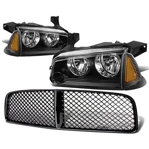 For Dodge Charger Pair of Black Housing Amber Corner Headlight+Black Front ()