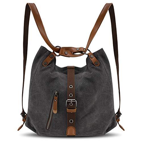 Women Multifunctional Shoulder Casual Fashion Grey Purse Ladies Backpack Handbags Backpack Bag Canvas 77AqYr
