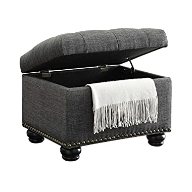 Convenience Concepts Designs-4-Comfort 5th Avenue Storage Ottoman, Gray