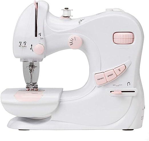 Pequeña máquina de coser eléctrica Dispositivo de costura de escritorio Aguja doble Velocidad de 5 puntadas ajustable con luz LED Dispositivo de costura multifuncional Ropa Herramientas de bricolaje: Amazon.es: Hogar