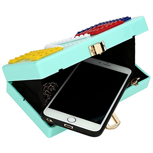 Evening Cyan Purse Handbag Women Party Clutch Bag Love Ladies Gift Ideal for Acrylic BxagwqS