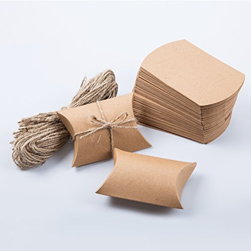 Kraft Pillow Box with Rope for Candy Treat Gift Wrap Box Party Favor 50pc by MOWO