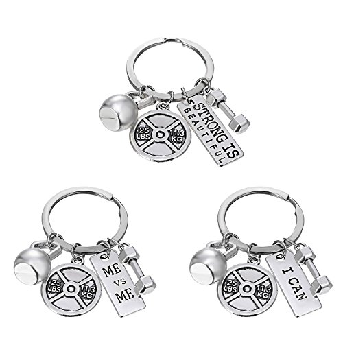 RINHOO FRIENDSHIP Stainless Steel Fitness Keychains with Quotes Weight Plate Dumbbell Kettlebell Charms Keyring (3PCS)