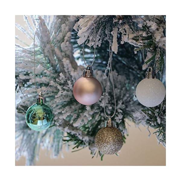 Valery Madelyn Palle di Natale 49 Pezzi 3 cm Palline di Natale, Elegante Palazzo Verde Menta e Oro Rosa Infrangibile Palla di Natale Ornamenti Decorazione per la Decorazione Dell'Albero di Natale 4 spesavip