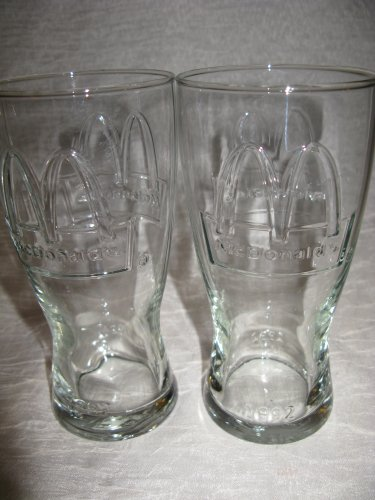 Set of 2 Vintage Retro Restaurant Style Embossed 1992 Collectible McDonald's Drinking Glasses