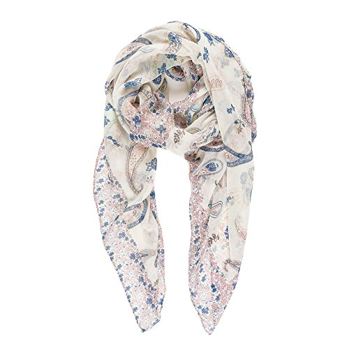 Scarf for Women Lightweight Fashion Summer Fall White Blue Paisley Scarves Shawl Wraps by Melifluos (Summer Fashion Gift)