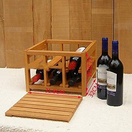 SGSG Botellero para 6 Botellas.Vinoteca en Madera contrachapada.Exhibición de Vino Independiente para el hogar, Bodega, Bar, Restaurante