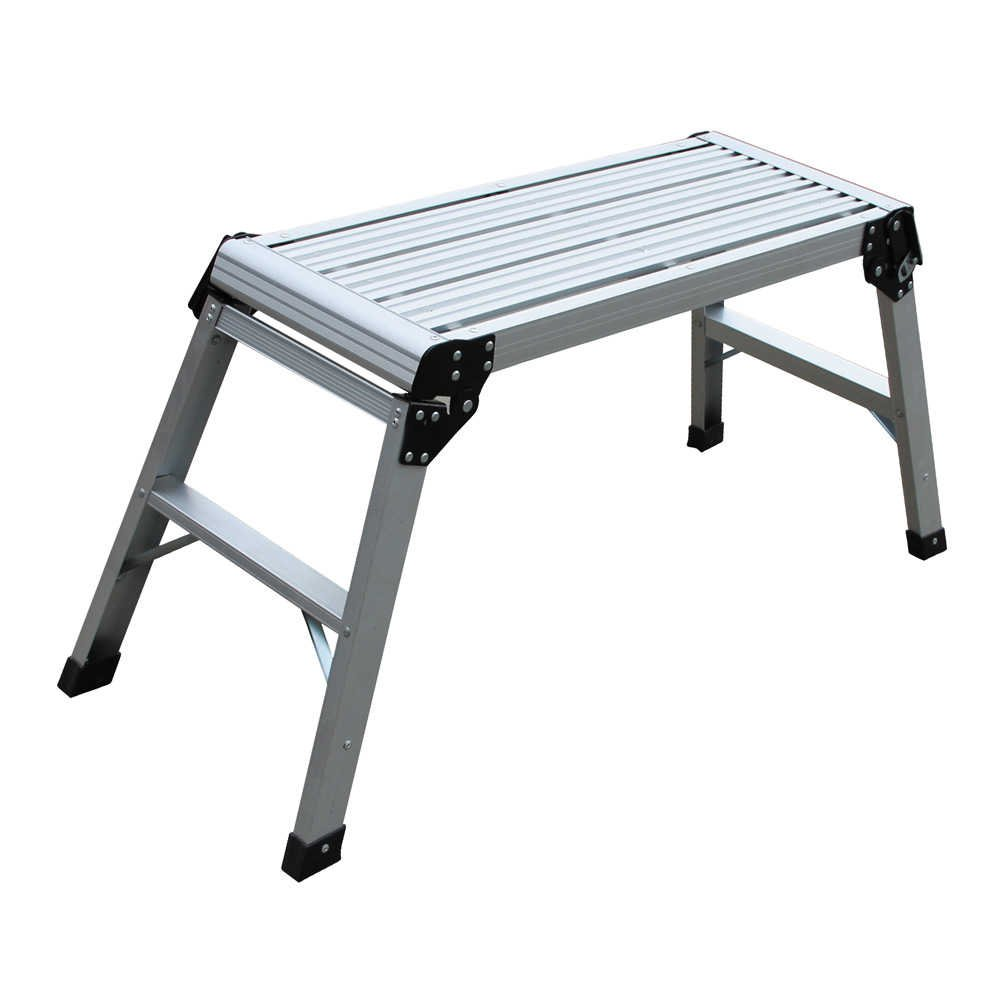 #1 Professional Folding Aluminum Step Stool Heavy Duty for Safe Working Load Anti Slip Aluminium Large Step Bench Outdoor Ladder - Non Slip & Lightweight