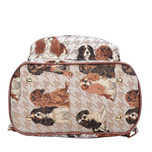 Signare Mochila pequeña para las mujeres todos los días en el diseño de la tapicería Cavalier King Charles Spaniel