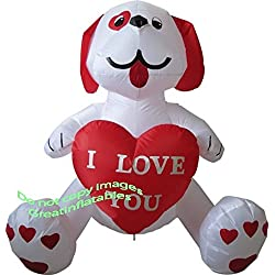 "Valentines Day Inflatable ""I Love You"" Puppy Dog Holding Heart"