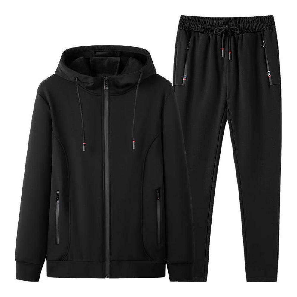 TSTYS Männer Herbst und Winter Anzug Zweiteiliger Plus Samt Verdickung Jugend lässige Sportswear Strickjacke Laufbekleidung Jogginghose