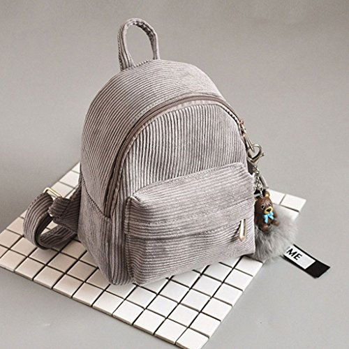 JAGENIE Shoulder Gray School Bags Small Girls Mini Light Corduroy Travel Backpack Handbag Gray Light Women Bag pqvUfrp