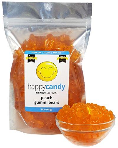 Gummi Peach - Happy Candy Peach Gummi Bears - Gluten Free, Fat Free, Dairy Free - Resealable Pouch (1 Pound)