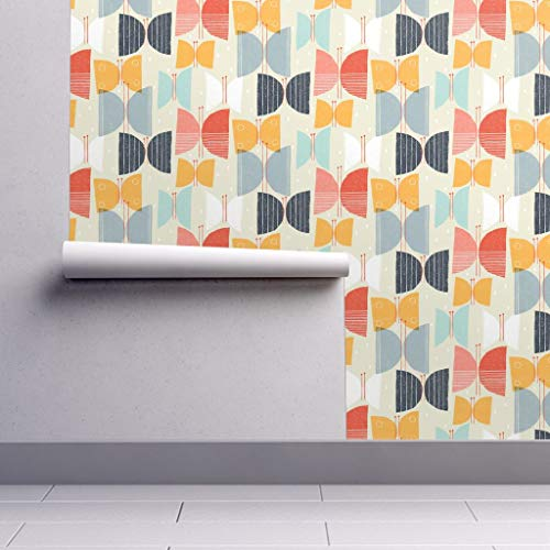 Peel-and-Stick Removable Wallpaper - Butterfly 1950S Inspired Abstract Butterfly Home Decor 1950S Mid by Friztin - 12in x 24in Woven Textured Peel-and-Stick Removable Wallpaper Test - Orange Geometric Wallpaper