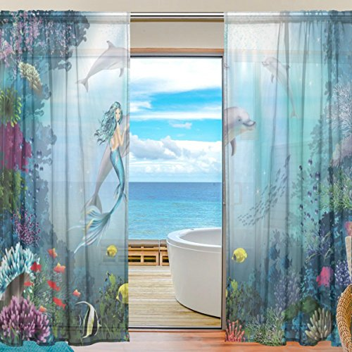 Dolphin Window - SEULIFE Window Sheer Curtain, Ocean Sea Mermaid Dolphin Fish Voile Curtain Drapes for Door Kitchen Living Room Bedroom 55x78 inches 2 Panels