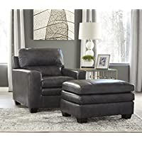 Gleason Contemporary Leather Charcoal Color Chair With Ottoman