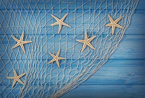 Yeele 7x5ft Vinyl Photography Background Navigation Starfish Seastars Fishing Net Sea Blue Wooden Floor Wood Plank Photo Backdrops Pictures Studio Props