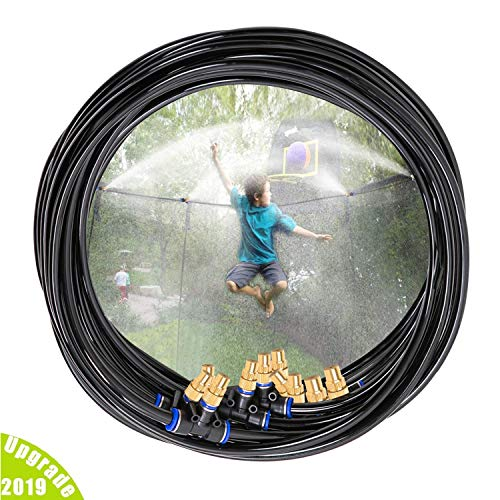 H&G lifestyles Outdoor Trampoline Water Play Sprinklers for Kids- Summer Outdoor Water Fun Game Toys Accessories - Great for Boys & Girls and Adults - Attached On Trampoline Safety Net -