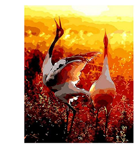 - Adult Hand Painted Kits Paint Oil Paint DIY Painting By Numbers-Double crane 16