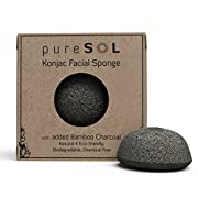 Amazon Lightning Deal 97% claimed: pureSOL Konjac Facial Sponge - Activated Charcoal