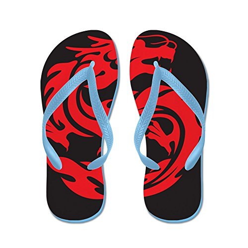 Price comparison product image Royal Lion Kid's Tribal Red Dragon Caribbean Blue Rubber Flip Flops Sandals 1-4