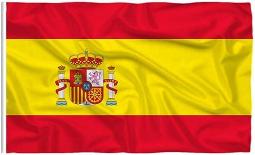 3x5 Pies España Bandera Spainish Nacionales Arandelas De Latón Banderas De Poliéster Color Vivo Y De Fundido Resistente A UV con Jefe De La Lona Y Doble Costura: Amazon.es: Jardín