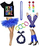 Women 80s Party Girl T-Shirt Costume with Tutu Skirt (M/L, Blue)