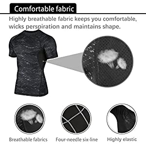 Niksa 3 Pcs Men's Workout Set with Athletic Shirt, Shorts with Pockets and Cool Dry Compression Pants from Niksa