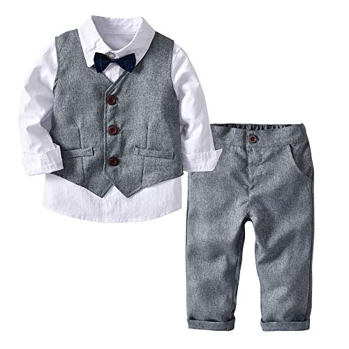 iYBUIA Cotton 4PC Toddler Baby Boy Bowtie Gentleman Vest T-Shirt Pants Wedding Suit Cloth Sets(White,90) -