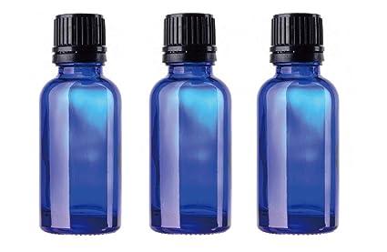 Frasco de vidrio azul 30 ml con tapa cuentagotas inviolable. (pack de 3)