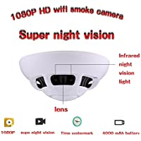 Ugetde WiFi IR wireless nanny camera looks like a smoke detector for remote monitoring;Novelty Hidden Camera Spy Camera Smoke Detector DVR Security Nanny Camcorder ip camera night vision camera