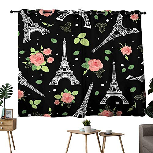 (Drapes For LivingRoom Vector Black Pink Eifel Tower Paris and Roses Flowers Seamless Repeat Pattern Surrounded By St Valentines Day Hearts Of Love Perfect for travel themed postcards greeting cards)