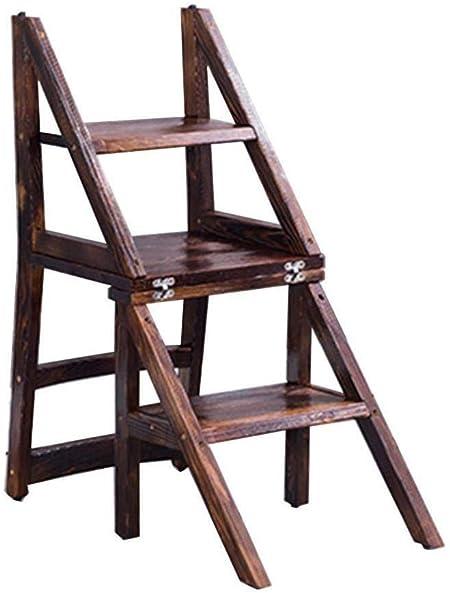 ChenXiDian-Super fuerte Escalera de madera Silla alta Escalera de madera Estantería Escalera de mano Madera maciza Plegable Escalera de doble uso Escalera de 3 escalones Seguridad Cocina Estante de za: Amazon.es: Hogar