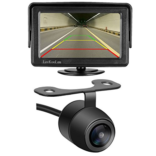LeeKooLuu Car Rear View Camera and Monitor Kit Backup Camera/Reverse Camera Single Power Needed Rear View/Full Time View Optional For Car/Vehicle 170°Viewing Angle Waterproof HDYX-1